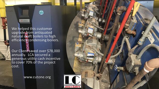 Cash incentives for boiler efficiency upgrades.